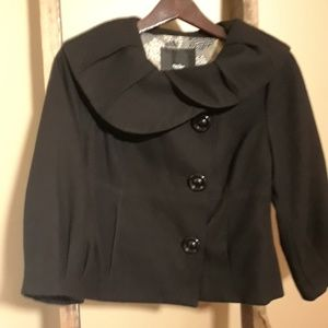 Black Wool Blend Cowel Neck Mossimo Cropped Jacket